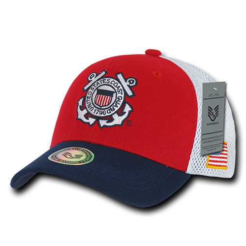 a36b9ecb33e58 Deluxe USCG United States Coast Guard MILITARY Hat OFFICIALLY LICENSED Mesh Baseball  Cap Hat