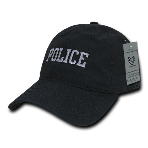 Relaxed Fit Ripstop Police Hat Black Baseball Hat Cap (Respect Those That Serve)