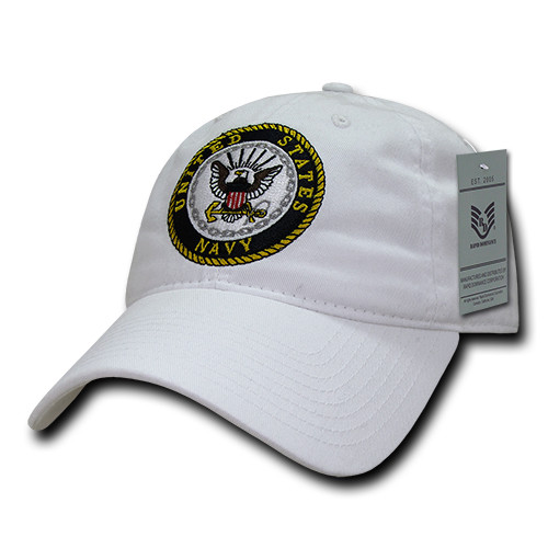 United States Navy US NAVY White Relaxed Fit Military Hat Baseball Cap Hat