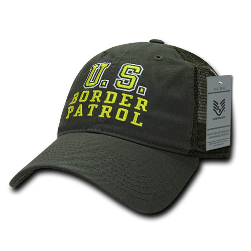 United States Border Patrol US Border Patrol Olive Mesh Relaxed Fit Trucker Cap