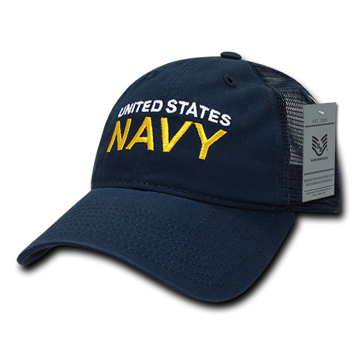 United States Navy US NAVY OFFICIALLY LICENSED Navy Mesh Relaxed Fit Trucker Cap