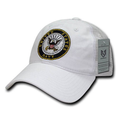 United States Navy US NAVY OFFICIALLY LICENSED White Mesh Relaxed Fit Trucker Cap