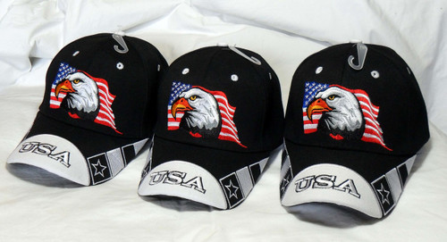 3 Pack Bald Eagle USA American Flag Black Baseball Cap Hat