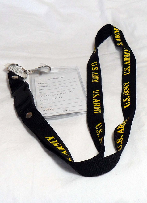 United States Army US ARMY Military LANYARD with ID tag Holder and Key Clasp