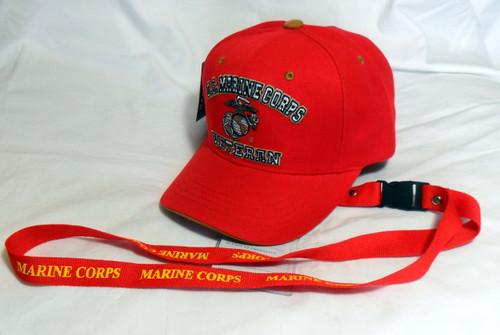 COMBO Lanyard & United States Marines U.S.M.C.VETERAN Marine With EGA Baseball Cap Hat