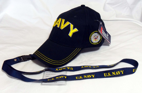 Combo Lanyard & U.S. NAVY OFFICIALLY LICENSED With Seal Baseball Cap Hat