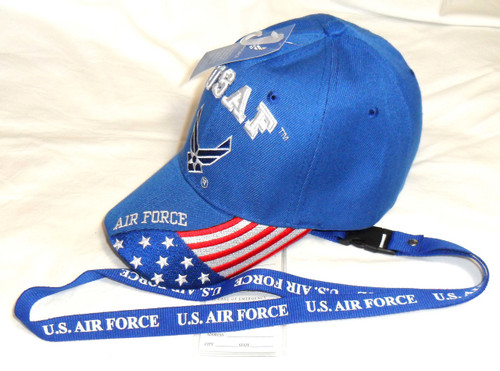 Combo Lanyard & USAF United States Air Force  OFFICIALLY LICENSED With Seal Baseball Cap Hat