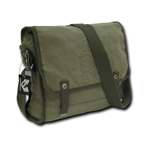 Vintage   Army Military Messenger Field Canvas Shoulder Laptop Bag Bags