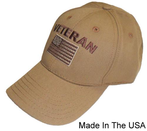Made In The USA Veteran with Flag Khaki Baseball Cap Hat 456a8e00e0a9