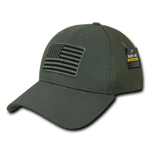 Olive USA US American Flag Tactical Operator Mesh Flex Fit Baseball Hat Cap 8c524ca9513