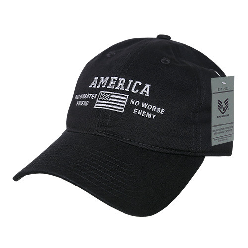 4e7cc40f1a99b USA No Greater Friend or Worse Enemy American Flag Patch Relaxed Graphic Baseball  Hat Cap