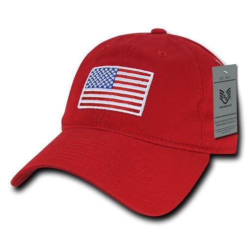 Khaki US American Flag Patch United States America Polo Tonal Baseball Hat Cap