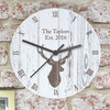 Personalised Highland Stag Large Wooden Kitchen Clock