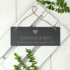 Personalised Slate Plaque with Heart Design