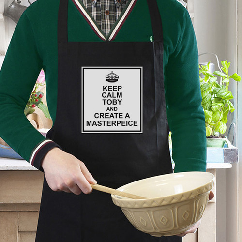Personalised Keep Calm Mens Apron