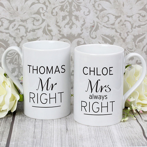 Personalised Mr Right & Mrs Always Right Mug