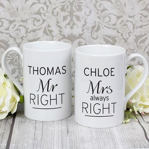 Personalised Mr Right & Mrs Always Right Mug