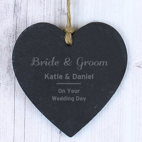 Personalised Bride & Groom Slate Heart