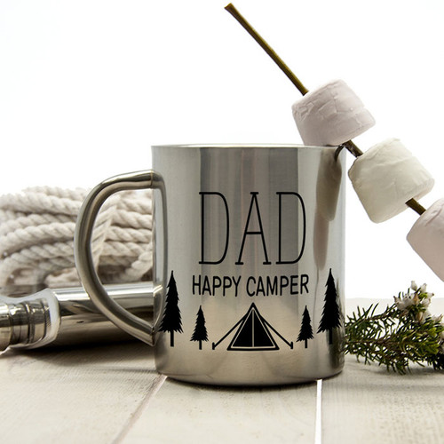Personalised Happy Camper Stainless Steel Mug