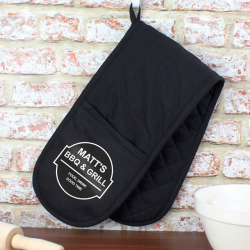 Black Personalised Oven Gloves
