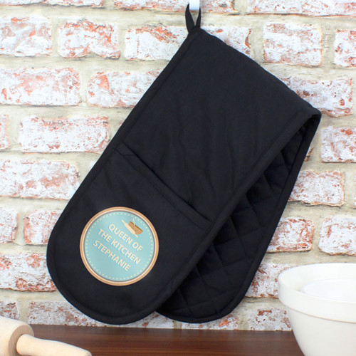 Black Personalised Bakers Oven Gloves