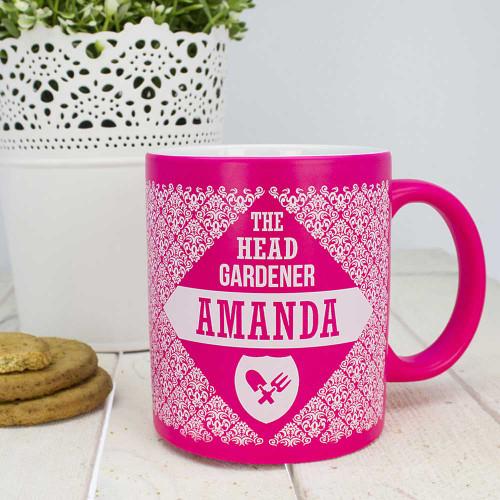 Pink Floral Patterned Head Gardeners Mug