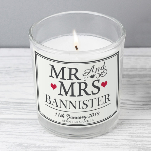 Personalised Mr & Mrs Scented Candle