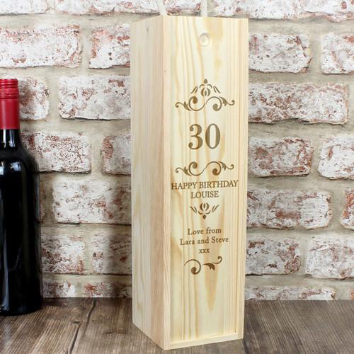 Birthday Personalised Wooden Wine Presentation Box