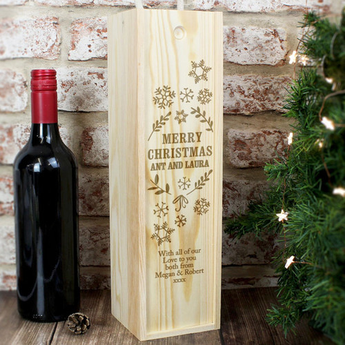 Personalised Christmas Wooden Wine Box