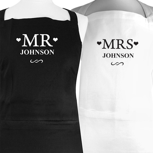 Personalised Mr and Mrs KItchen Apron