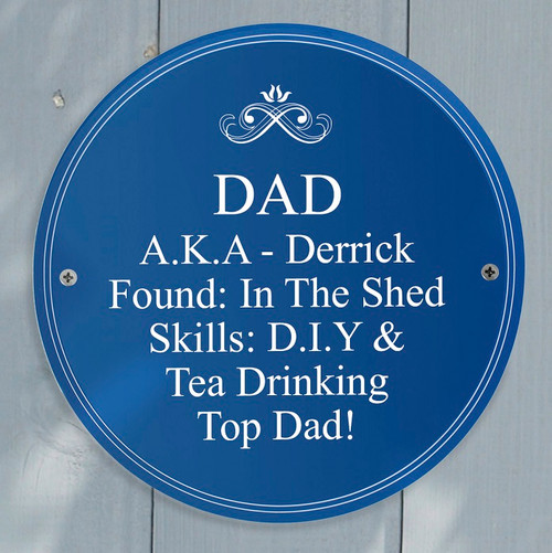 Personalised Blue Plaque For Dad