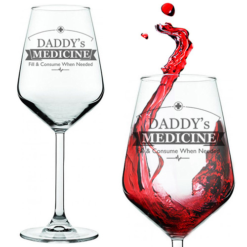 Daddy's Medicine Novelty Red Wine Glass