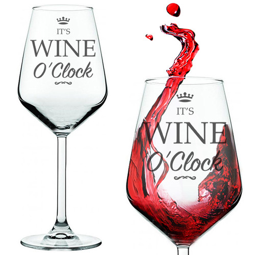 Wine O'Clock Funny Wine Glass