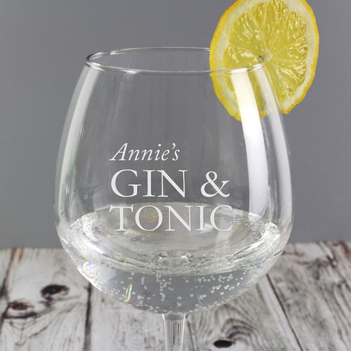 Personalised Gin and Tonic Balloon Glass
