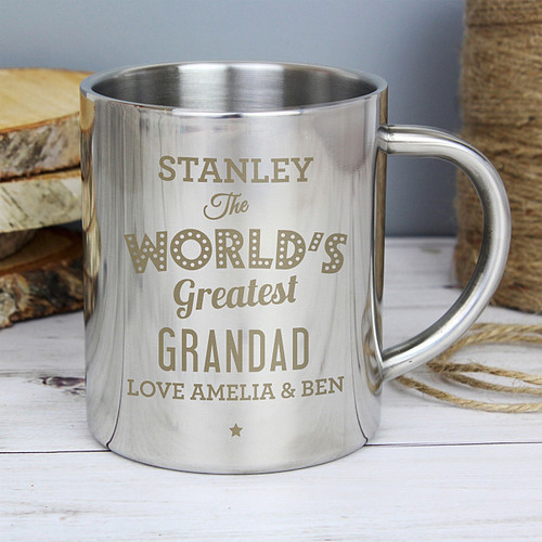 Personalised Metal Mug World's Greatest Grandad