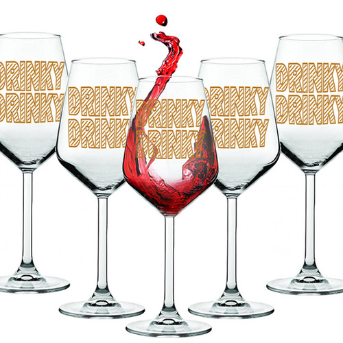 Novelty Set Of 6 Wine Glasses