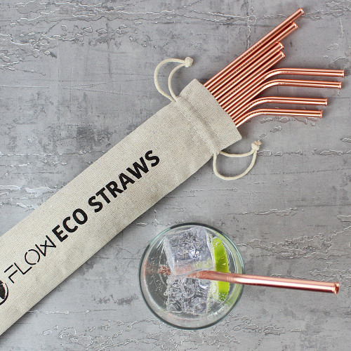 Reusable Copper Drinking Straws by Flow Barware