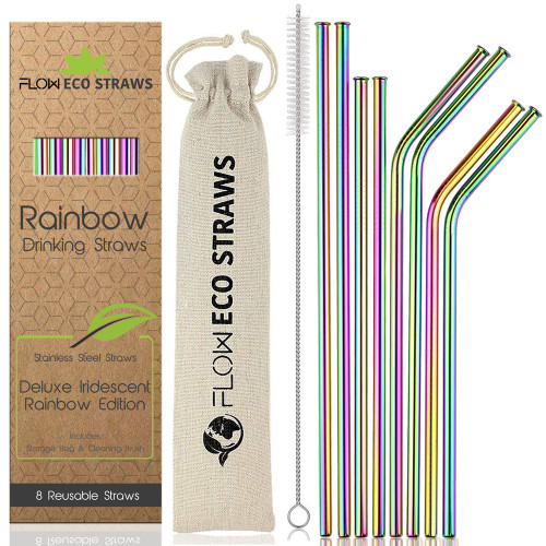 Reusable Rainbow Drinking Straws by Flow Barware