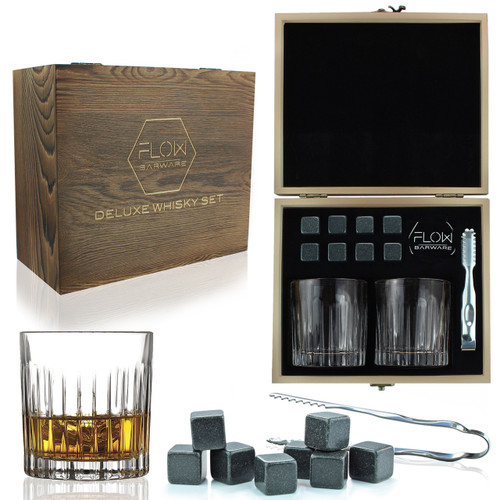 Deco Crystal Whisky Glasses & Stones Box Set by FLOW Barware