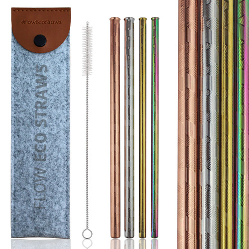 Deluxe Embossed Metal Straws Set by Flow Barware