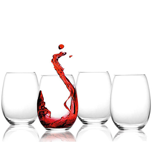 Set of 4 Crystal Stemless Red Wine Glasses