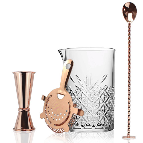 Cocktail Mixing Jug Copper Hawthorne Strainer Drinks Jigger and spoon