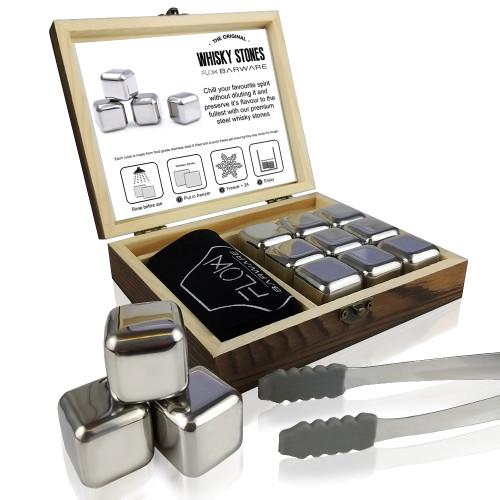 Stainless Steel Whisky Stones Gift Set FLOW Barware