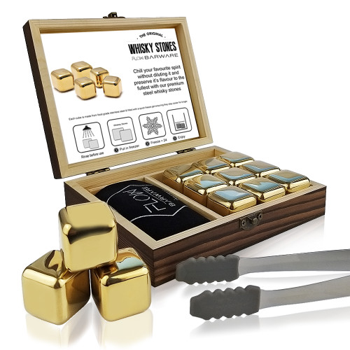 Gold Metal Whisky Stones Gift Set