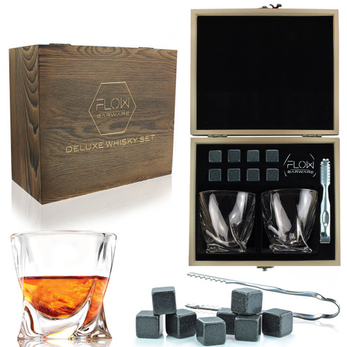 FLOW Twist Whisky Glasses & Stones Box Set