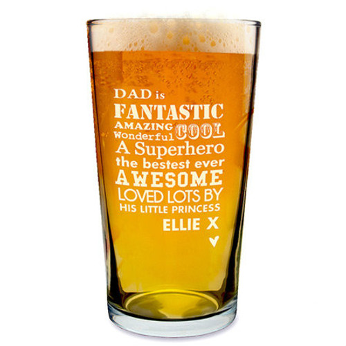 Personalised He Pint Glass