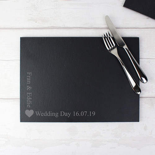 Personalised Slate Heart Design Placemat