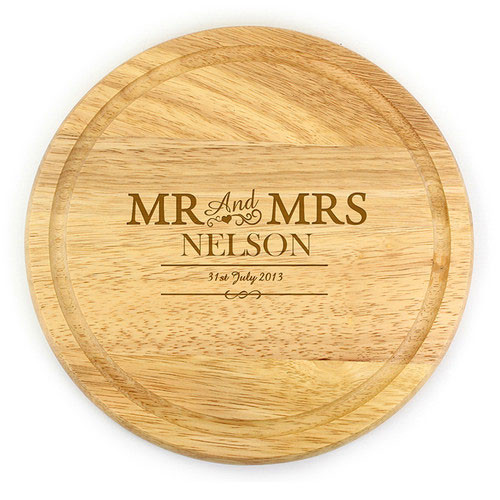 Personalised Mr & Mrs Wooden Chopping Board