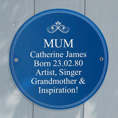 Personalised Blue Plaque for Mum