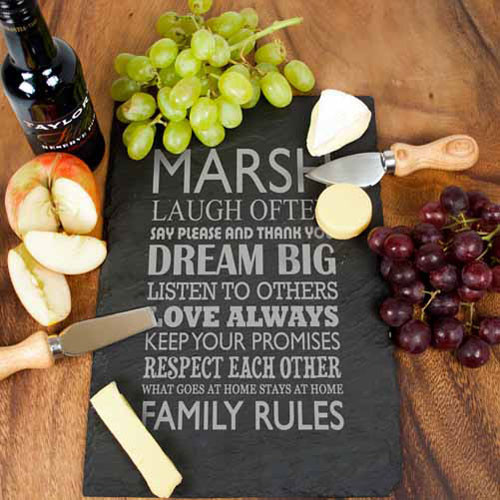 Personalised Family Rules Slate Cheese Board / Trivet